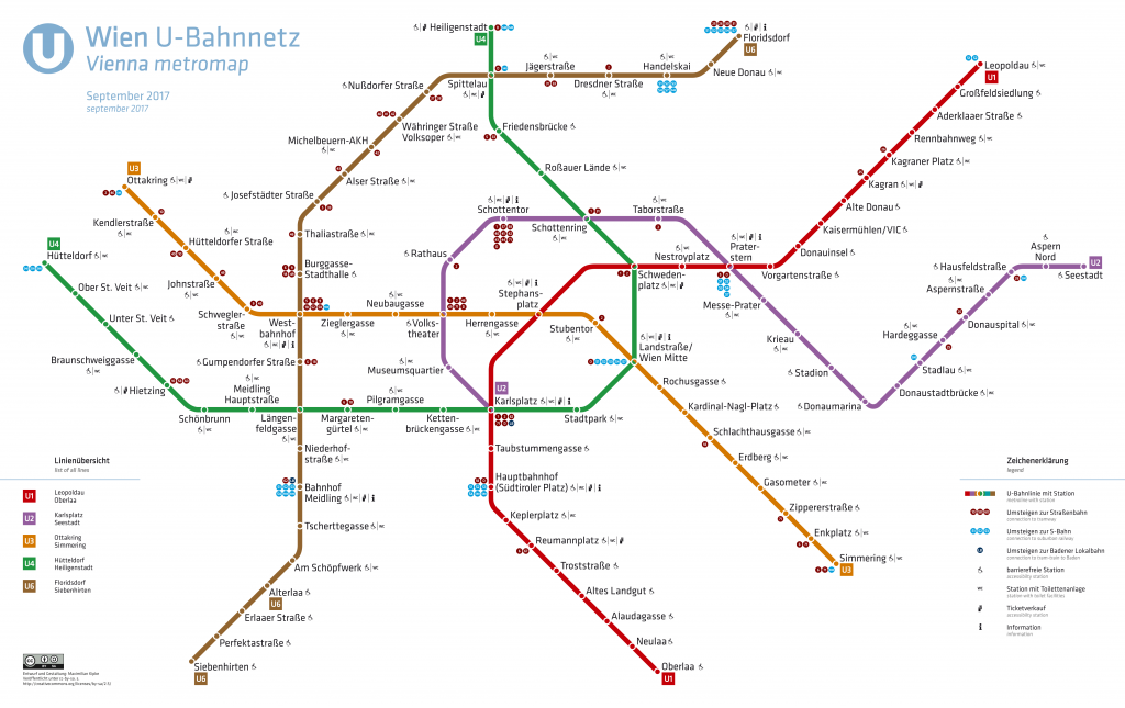 Overzicht metro lijnen Wenen