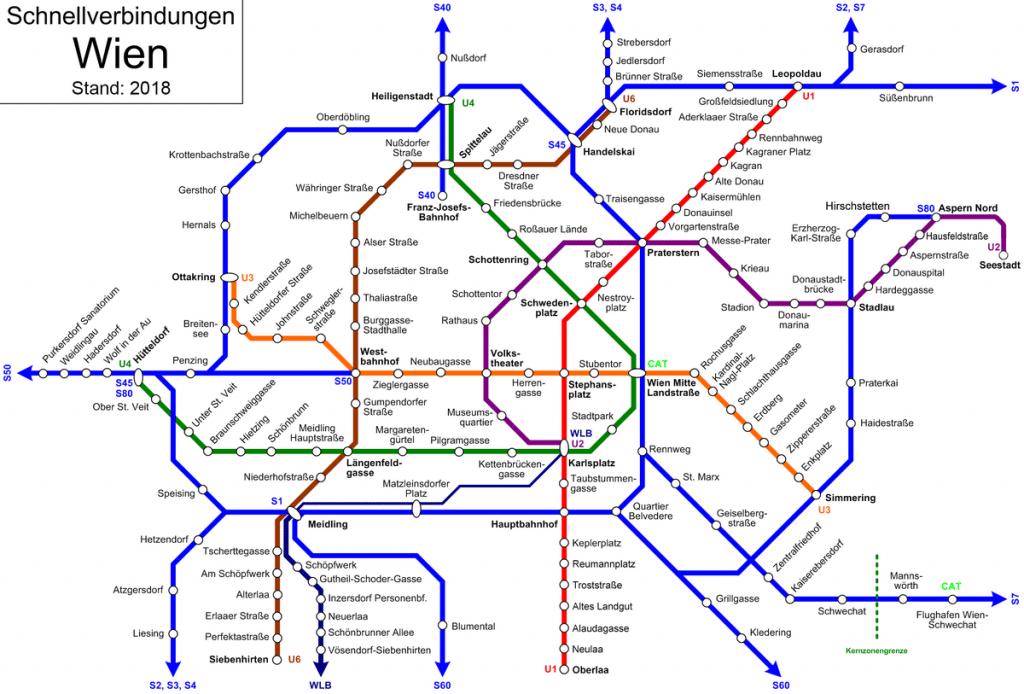 Netwerk van trams en metro in Wenen
